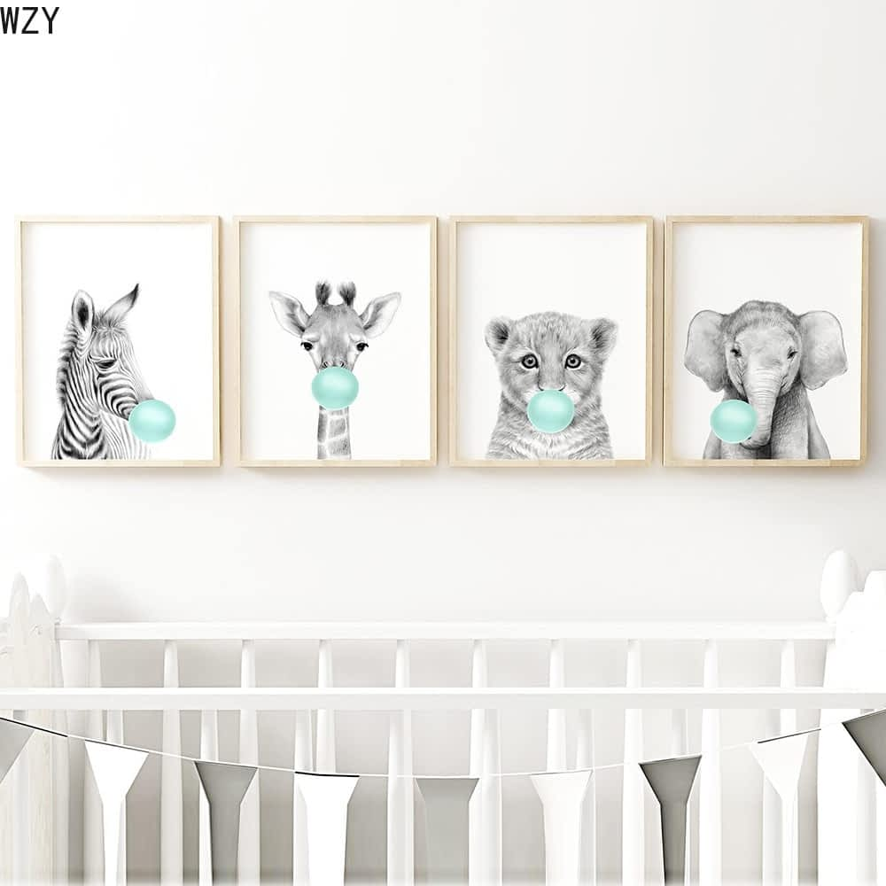 Teal-Bubble-Elephant-Giraffe-Child-Poster-Animal-Wall-Art-Canvas-Baby-Room-Decoration-Picture-Nursery-Print-7.jpg