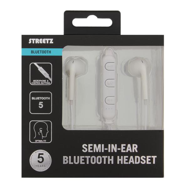 STREETZ Bluetooth Hörlurar Semi-in-ear - Vit Image